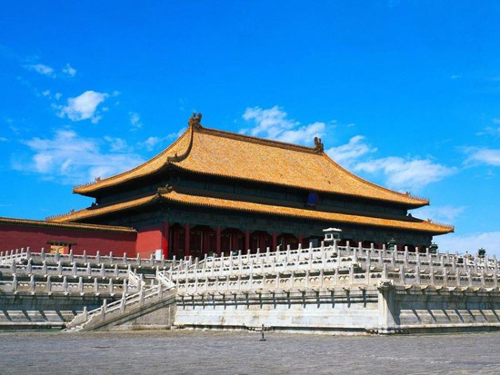 Chinese Forbidden City under Blue Sky