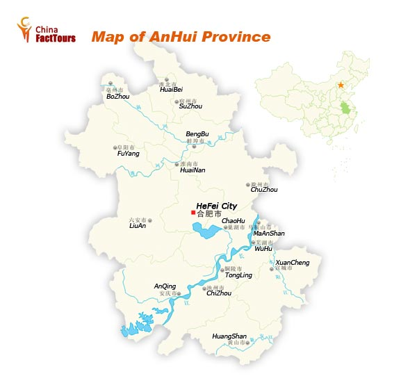 Map of Anhui Province, Anhui Map, China Anhui
