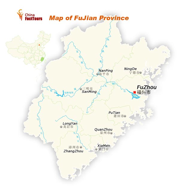 Map of Fujian, Map Fujian, Fujian China