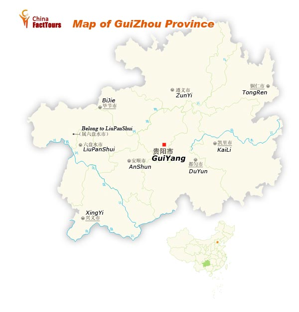 Map of Guizhou, Guizhou Map, Guizhou Travel, China