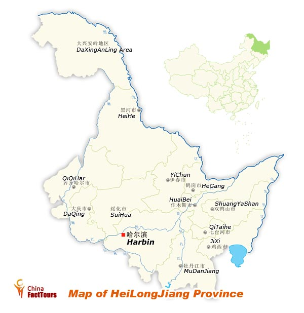Map of Heilongjiang, Heilongjiang Map, Harbin China