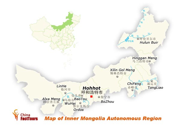 Map of Inner Mongolia, Inner Mongolia Map