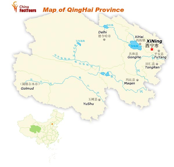 Map of Qinghai, China Qinghai