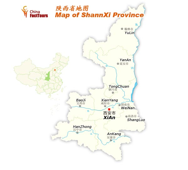 Map of Shaanxi, Shaanxi Province, Shaanxi China