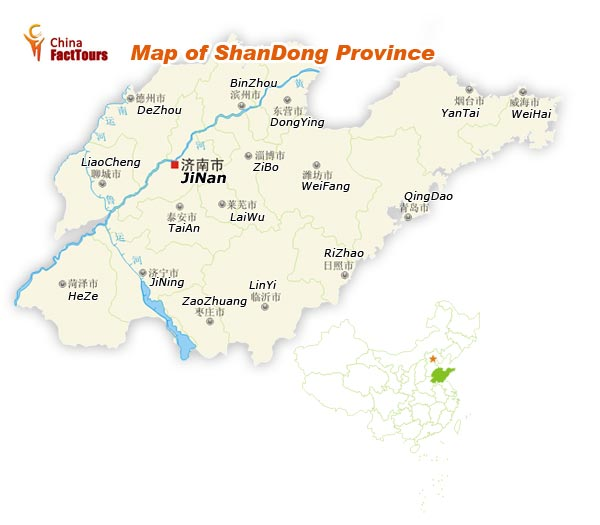 Map of Shandong, China Shandong, Map  Jinan