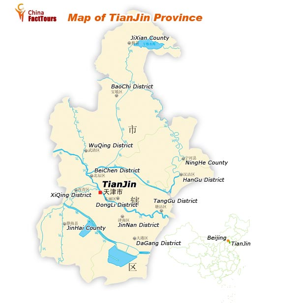 Map of Tianjin, Tanjin Beijing, China