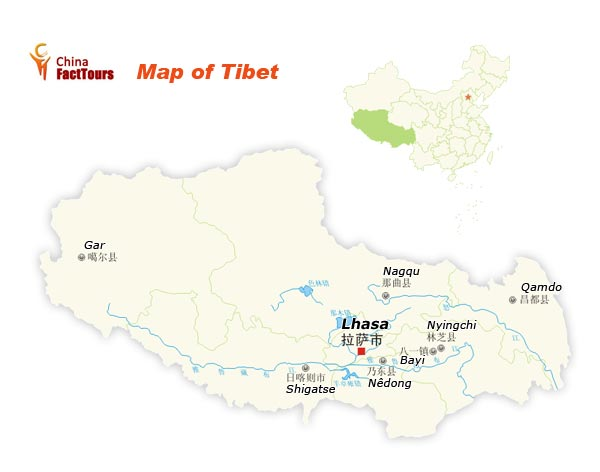 Map of Tibet, Tibet China Map