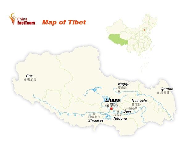 Map of Tibet, Tibet China Map