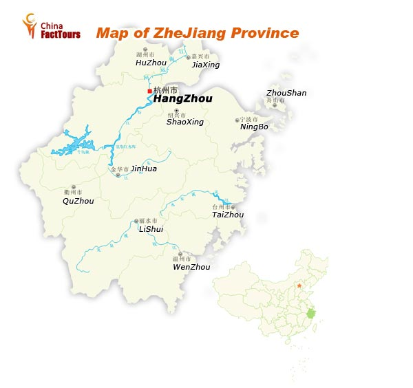 Map of Zhejiang, Hangzhou China