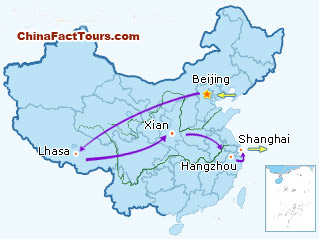 China heritage travel 15 day ancient capitals tour china world beijing lhasa xian hangzhou shanghai tourist map gumiabroncs Image collections