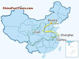 Beijing Xian Shanghai Suzhou Tourist Map