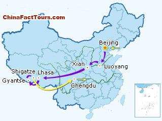 Beijing Luoyang Xian Lhasa Gyantse Shigatze Chengdu Tourist Map