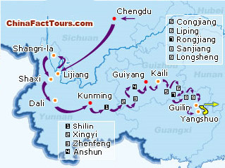Southwest China tour map