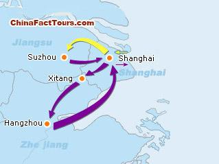 Shanghai Hangzhou Suzhou Xiang Tourist Map