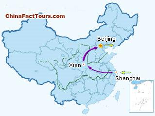 Shanghai, Xian, Beijing tourist map