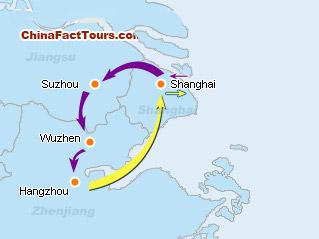 Suzhou Shanghai Hangzhou Tourist Map