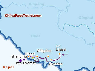 Map of Tibet Tour