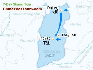 Datong and Pingyao Tourist Map Guide
