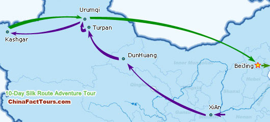 Silk Route Tourist Map,Silk Road Map Guide