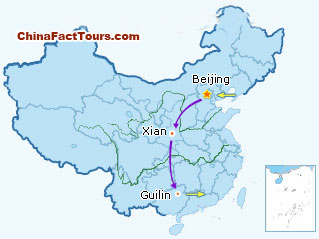 Beijing Xian  Guilin Tour Map