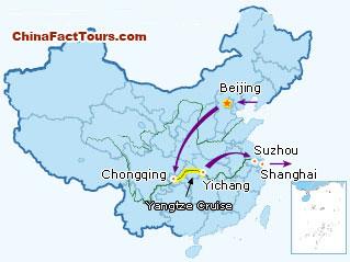 Beijing, Shanghai, Chongqing, Suzhou, Yangtze River tourist map