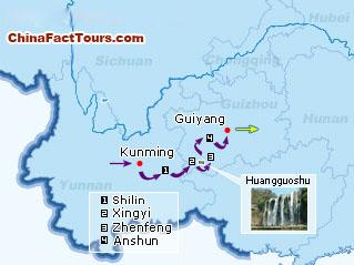 Yunnan, Guizhou Tourist Map