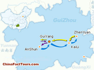 Guizhou Tour Map,Touring Map of Guizhou