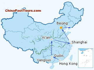 17-Day China Family Vacation Tour Map