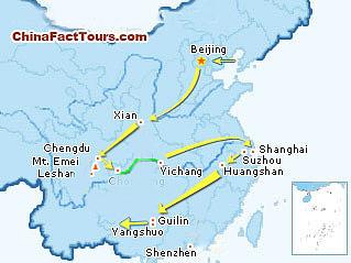 Beijing, Xian, Guilin,Sichuan, Chongqing, Yangtze Cruise, Yichang, Shanghai, Suzhou, Huangshan, Shenzhen tourist map