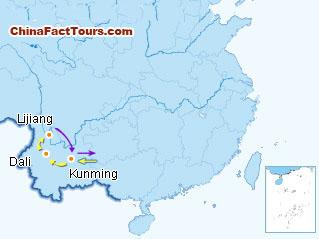 Dali, Kunming, Lijiang Tourist Map