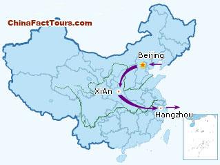 Beijing Xian Hangzhou tourist map