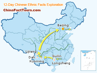 Guilin,  Longsheng, Yunnan, Beijing Tourist Map