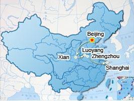 Beijing, Xian, Luoyang, Zhengzhou tourist map