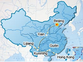 Beijing, Xian, Kunming, Lijiang, Guilin, Hong Kong tourist map