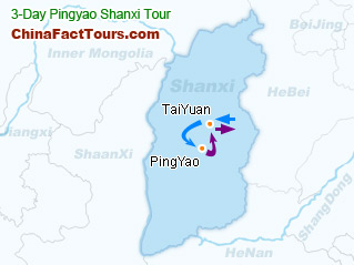 Shanxi Pingyao Tourist Map Guide