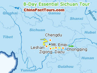 Chengdu Leshan Mt.Emei Zigon Tourist Map