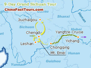 Chengdu, Leshan, Jiuzhaigou,Yangtze River Tourist Map
