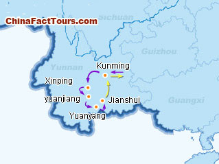 Map of Yunnan Tour
