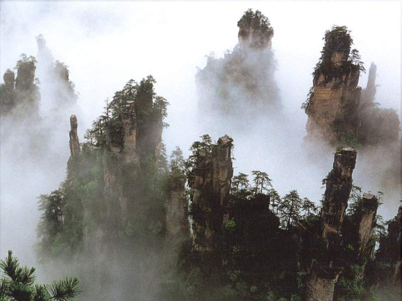 The misty Zhanjiajie National Forest Park