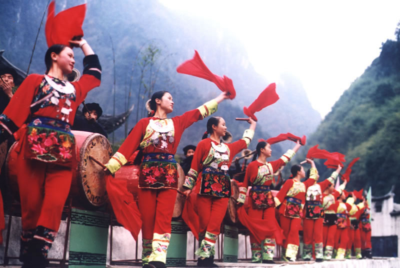 The Tujia women in Zhangjiajie celebrate the Tujian New Year